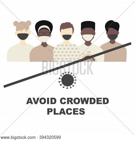 Avoid Crowded Places Concept. Quarantine Coronavirus Pandemic Concept Sign. Crossed Out Crowd Of  Bl