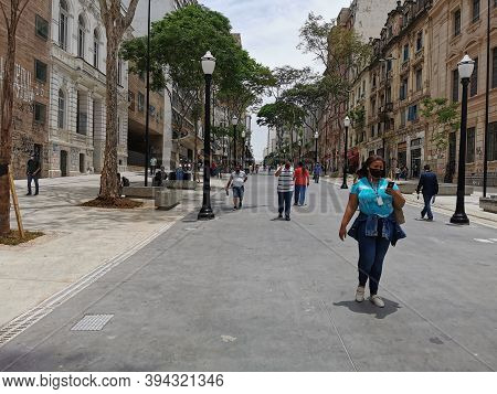 Sao Paulo, Brazil - November 10, 2020: New Normal In The Region Of Sao Joao Avenue In The City Cente