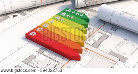 Energy Efficiency Rating Chart On Blueprint Plans Background. Environmetal Friendy Construction Conc
