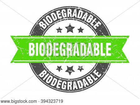 Biodegradable Round Stamp With Ribbon. Label Sign