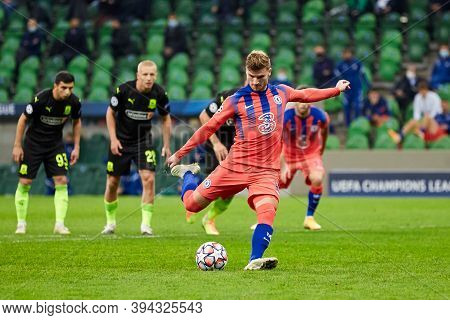 Krasnodar, Russia - October 28, 2020: Timo Werner Of Chelsea Fc Scores A Penalty During The Uefa Cha