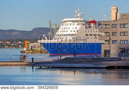 Oslo, Norway - October 29, 2016: Big Cruse Ship Moored At Port In Oslo, Norway.
