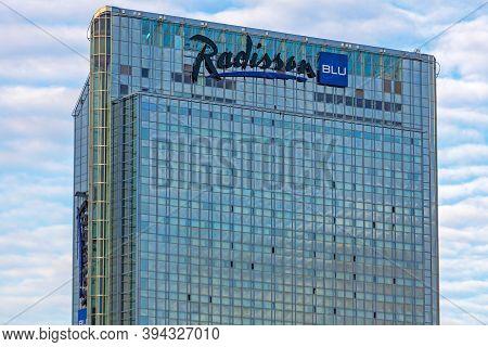 Oslo, Norway - October 30, 2016: Radisson Blu Hotel Glass Skyscraper In Oslo, Norway.
