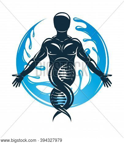 Vector Graphic Illustration Of Strong Male Created As Scientific Model Of Human Dna And Surrounded B