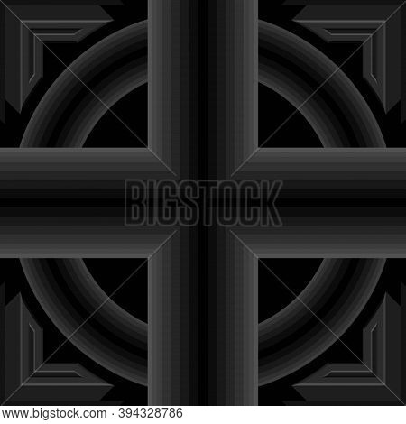 Seamless Geometric Pattern, Criss-cross And Circle Black Pipe Shape, 3d Right-angled Edge. Templates