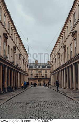 Bath, Uk - October 04, 2020: View Of Bath Street In Bath, The Largest City In The County Of Somerset