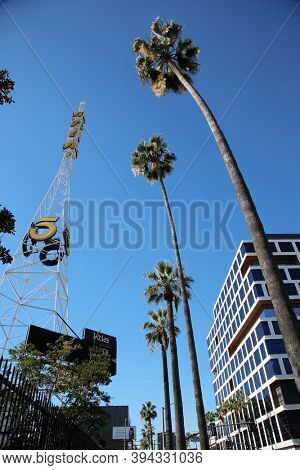Hollywood, California / USA - November 10, 2020: KTLA Channel 5 Television Broadcast Station and Location Tower. KTLA is one of the Major Television Networks in the USA. Editorial use only.
