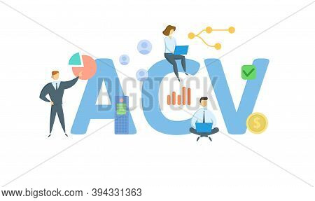 Acv, Actual Cash Value. Concept With Keywords, People And Icons. Flat Vector Illustration. Isolated