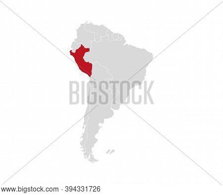 Peru On South America Map Vector. Vector Illustration.