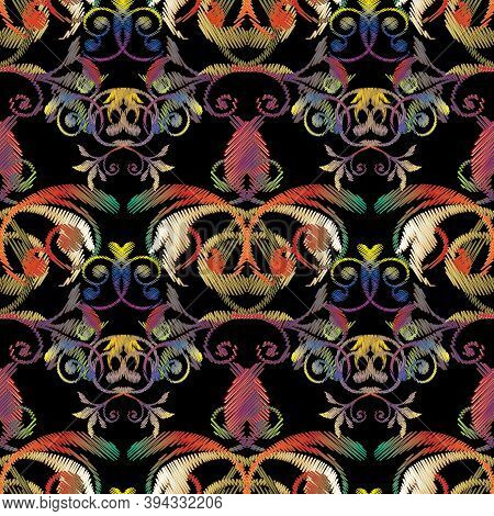 Baroque Embroidery Seamless Pattern. Tapestry Colorful Flowers, Leaves. Embroidered Design With Anti