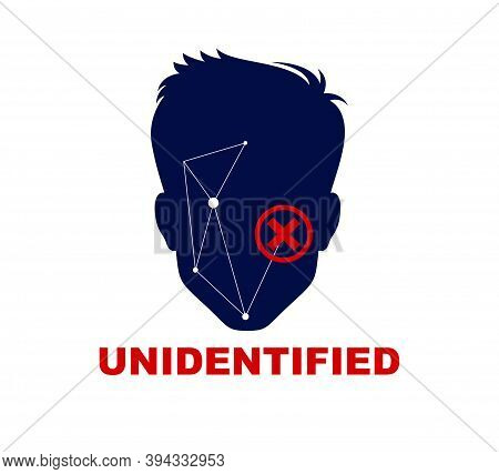 Man Face Silhouette Biometric Identification Concept Vector Simple Logo Or Icon, People Search, Unid