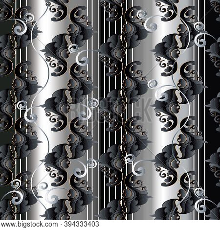 Baroque Striped Black And White Vector Seamless Pattern. Abstract 3d Background Wallpaper With Verti