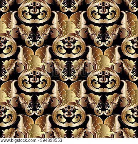 Gold Baroque Vector Vintage Seamless Pattern. Floral Damask Background With Golden Scroll Leaves, Fl