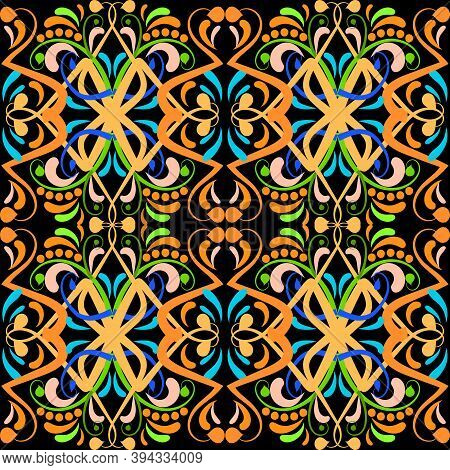 Vintage Colorful Paisley Vector Seamless Pattern. Abstract Ethnic Style Floral Background. Ornamenta