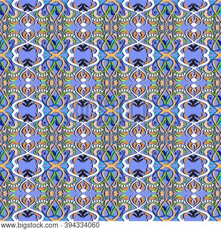Paisley Elegance Floral Vector Seamless Pattern. Ornamental Oriental Arabian Style Blue Background.