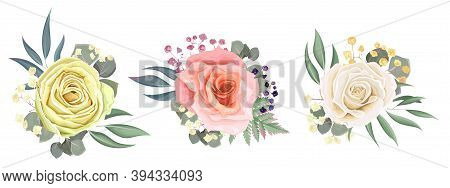 Set Of Flower Arrangements. White, Beige And Pink Roses. Green Plants And Small Flowers. Flowers On
