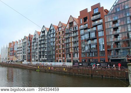 Gdansk / Poland. 21 June 2019: Beautiful Architecture Of Buildings Standing Above Water Channel In G
