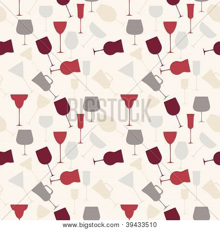 Seamless background pattern of retro alcoholic glass.