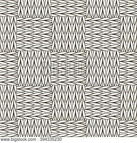 Check Black And White Knitted Seamless Pattern. Ornamental Abstract Fancywork Background. Embroidery