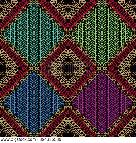 Stitching Colorful Ornamental Vector Seamless Pattern. Knitting Geometric Background. Shapes, Rhombu