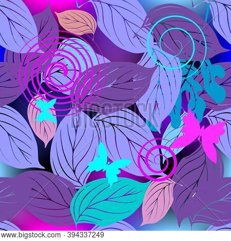 Leafy Decorative Vector Seamless Pattern. Ornamental Abstract Floral Glowing Background. Colorful Le