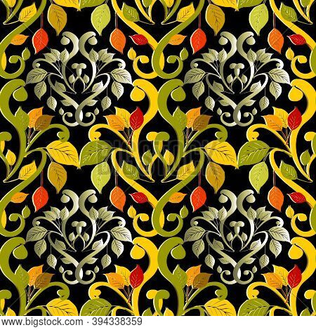 Damask Autumn Leaves 3d Vector Seamless Pattern. Beautiful Colorful Ornamental Floral Background. Vi