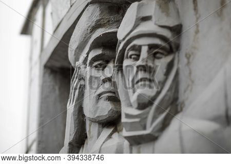 Bucharest, Romania - November 11, 2020: Details From A War Memorial Monument Depicting Romanian Sold