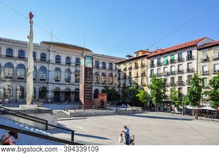 Madrid, Spain - June 2018: Monument In Front Of Queen Sofia Museum And Madrid Royal Conservatory