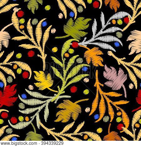 Floral Textured Embroidery Baroque Vector Seamless Pattern. Leafy Ornamental Tapestry Background. An