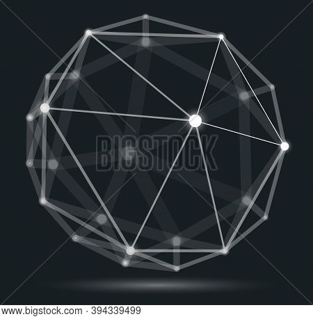 Abstract 3d Mesh Sphere Vector Illustration, Dots Connected With Lines Technology Polygonal Object,