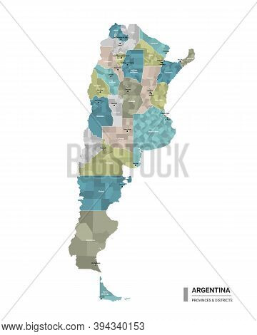 Argentina Higt Detailed Map With Subdivisions. Administrative Map Of Argentina With Districts And Ci