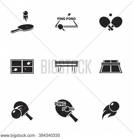 Icons For Theme Ping Pong , Vector, Set. White Background