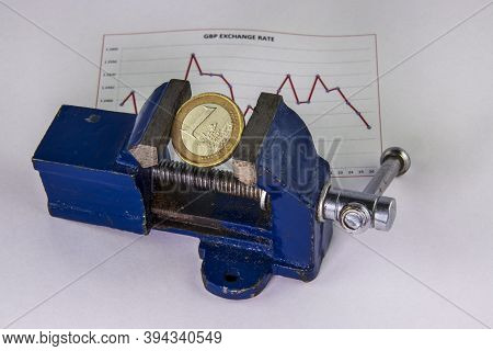 Euro Coin Under Pressure In A Vice.