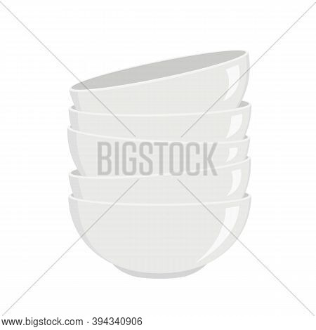 Stack Of Clean White Bowls For Soup Or Salad Isolated On White Background. Washed Kitchen Dishware.