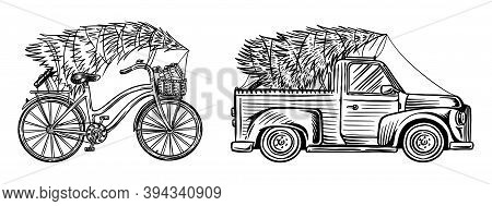 Car And Bicycle With A Christmas Tree. Spruce In The Luggage Of The Truck. Delivery Concept. Vector