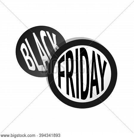 Black Friday Overlaped Round Stickers With Text Fitted In A Circle