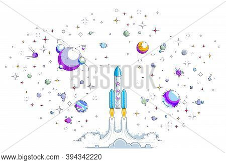 Rocket Start Up To Space To Explore Undiscovered Galaxy, Surrounded By Fantastic Planets, Stars And