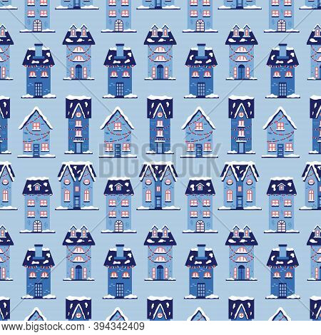 Christmas Snow Houses Pattern. New Year Background Merry Christmas. Vector Illustration In Blue Shad