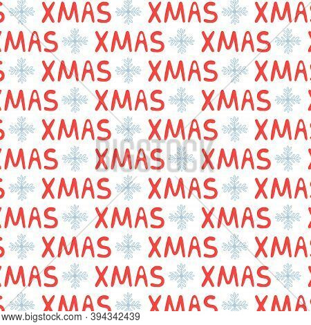 Christmas Lettering Text Pattern Xmas. New Year Background Merry Christmas. Vector Illustration In R
