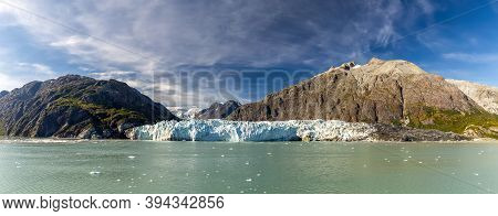 Panoramic View Of Margerie Glacier Surrounded By Huge Mountains In Glacier Bay National Park And Pre