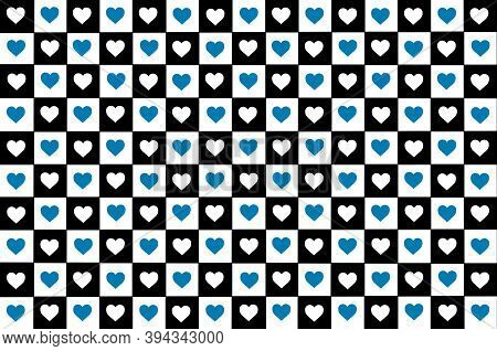 Blue Black White Turquoise Checkered Background With Hearts. Checkered Texture. Space For Graphic De