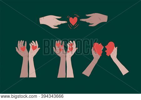 Collection Of Womens Hands And Heart. Vector Set Of Hand Icon Templates. Illustrations For Cosmetics