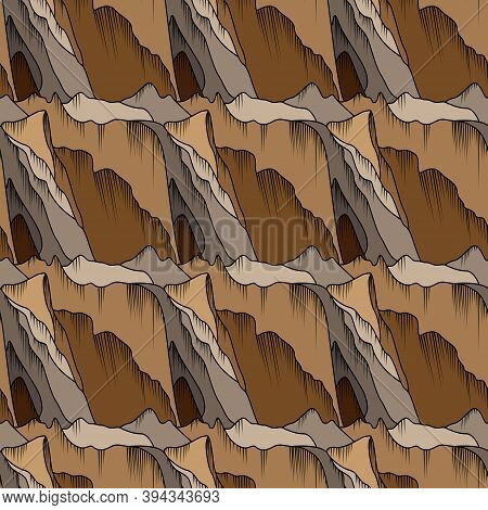 Seamless Abstract Pattern Similar To Mountains In Brown Hues, Hand Drawing