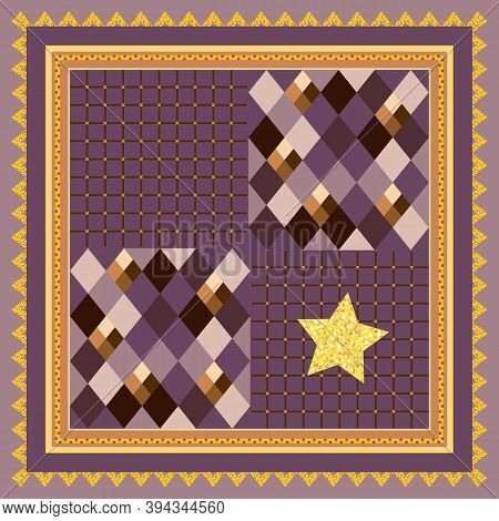 Square Pattern With Geometric Ornament And Gold Star In Decorative Frame. Beautiful Print For Kerchi