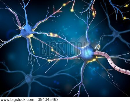 Network of multipolar neurons with glowing receptors. 3D illustration.