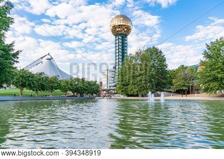 Knoxville, Tn  - October 9, 2019: Golden Sunsphere At World's Fair Park In Downtown Knoxville