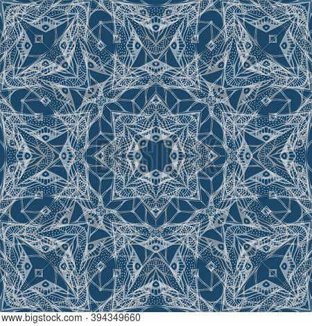 Beautiful Bandana Print With Intricate Lace Pattern. Silk Neck Scarf Design.