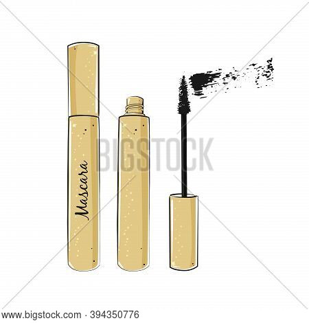 Eyelashes Mascara With Brush On White Background.