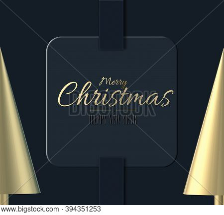 Minimalist Abstract Christmas Card In Gold And Black. Text Merry Christmas Happy New Year On Xmas Gi