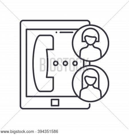 Audio Conferencing Icon, Linear Isolated Illustration, Thin Line Vector, Web Design Sign, Outline Co